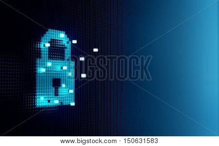 Cube forming digital lock icon security concept - 3D Rendering