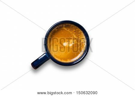 Top View Cup Of Coffee On White Background