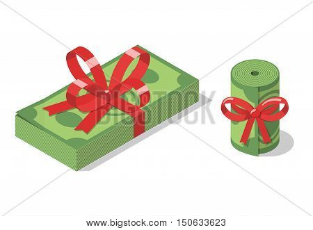 Stack of dollar bills and roll of banknotes tied with a red ribbon with bow. Financial gift, bonus, present or prize. Money. Isometric vector illustration