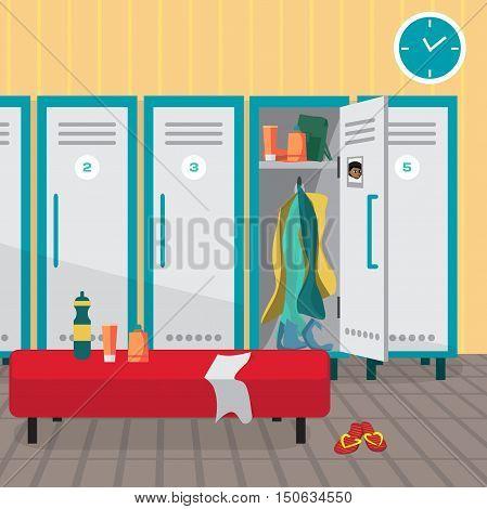 Interior of a gym locker room. Dressing place a fitness club. Vector flat cartoon illustration