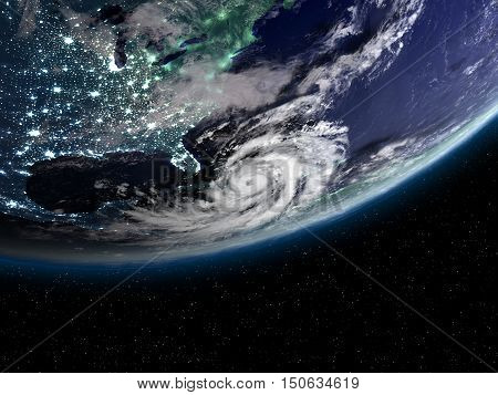 Hurricane And City Light Above America