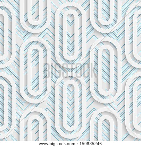 Seamless Ellipse Design. Futuristic Tile Pattern. 3d Elegant Minimal Geometric Background. Abstract White and Blue Grid Wallpaper