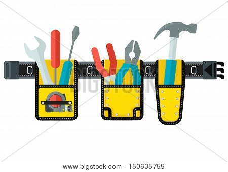 Belt with tools. Conceptual image of tools for repair construction and builder. Concept image of work wear. Cartoon flat vector illustration. Objects isolated on white background.
