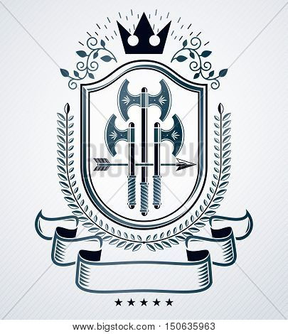 Classy emblem vector heraldic Coat of Arms made with axes and royal crown