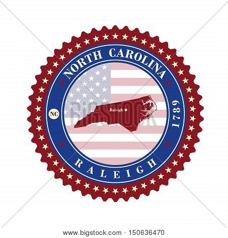 Label sticker cards of State North Carolina USA. Stylized badge with the name of the State year of creation the contour maps and the names abbreviations.