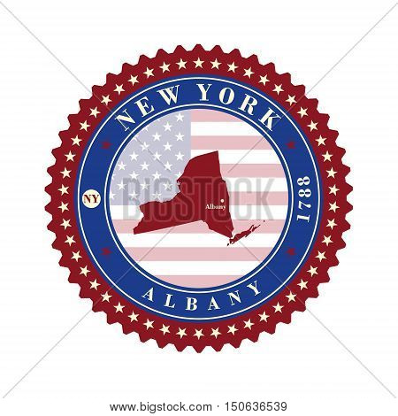 Label sticker cards of State New York USA. Stylized badge with the name of the State year of creation the contour maps and the names abbreviations.