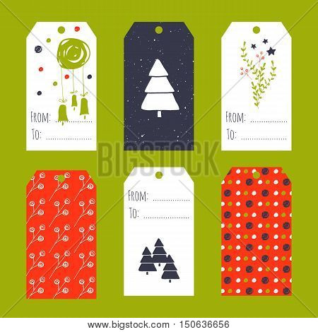 Vector set of winter tag templates. Bright collection for Christmas and New Year holidays. For greeting cards, brochures, tags and labels, souvenirs, gifts decoration and sales design, scrapbooking.