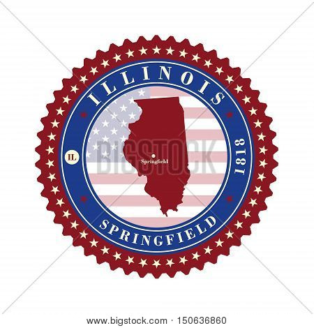 Label sticker cards of State Illinois USA. Stylized badge with the name of the State year of creation the contour maps and the names abbreviations.