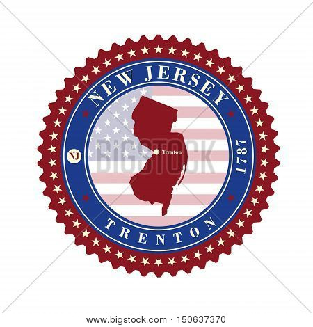 Label sticker cards of State New Jersey USA. Stylized badge with the name of the State year of creation the contour maps and the names abbreviations.