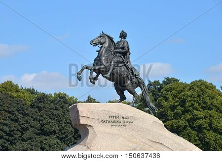 RUSSIA SAINT- PETERSBURG- JULY ?28 ?2013: Peter I the Great monument against blue sky.