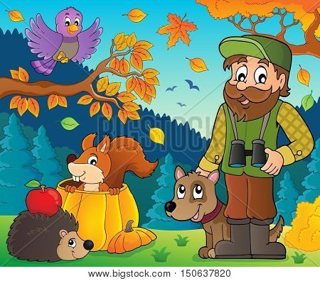 Forester and autumn animals theme 1 - eps10 vector illustration.