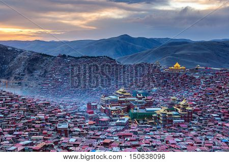 Top view sunset time at Larung gar (Buddhist Academy) in Sichuan China