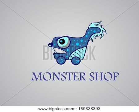stock logo illustration of blue monster shopping