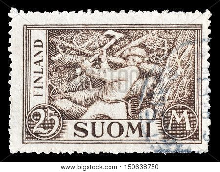 FINLAND - CIRCA 1930 : Cancelled postage stamp printed by Finland, that shows Woodchopper.