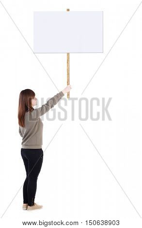 Back view woman showing sign board. man holds information plate. Rear view people collection. backside view of person. Isolated over white background. girl in a gray sweater holds in his right hand a