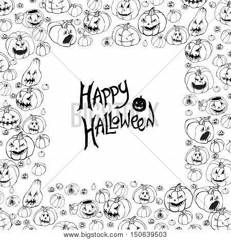 Halloween vector frame. Black and white background with scary Jack-O-Lantern pumpkins. Hand drawn sketchy square border.