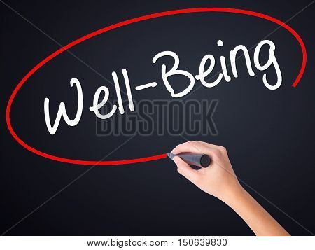 Woman Hand Writing Well-being  With A Marker Over Transparent Board