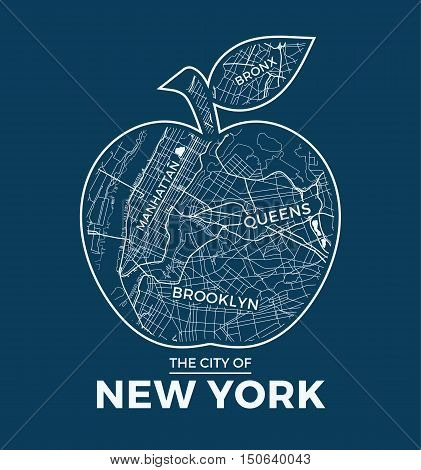 New York Big Apple T-shirt Graphic Design With City Map. Tee Shirt Print, Typography, Label, Badge,