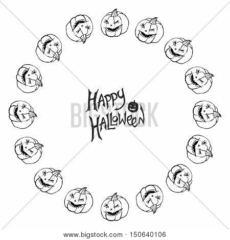 Halloween vector frame. Black and white background with scary Jack-O-Lantern pumpkins. Hand drawn sketchy round border.
