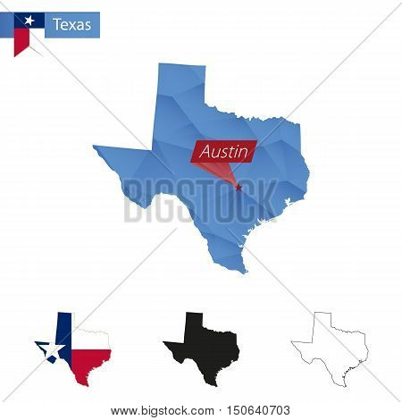 State Of Texas Blue Low Poly Map With Capital Austin.