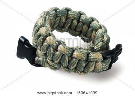 Para Cord Survival Bracelet On White Background