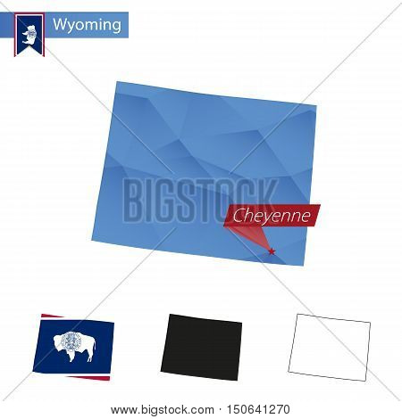 State Of Wyoming Blue Low Poly Map With Capital Cheyenne.