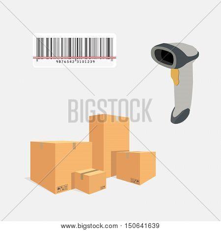 Vector illustration pile of cardboard boxes. Barcode scanner scanning barcode.