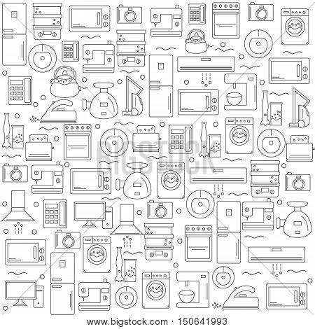 Home appliances. Background with the image of home appliances. White banner for your company or shop . Vector illustration.