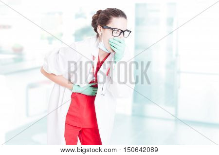 Sick Doctor Having Indigestion