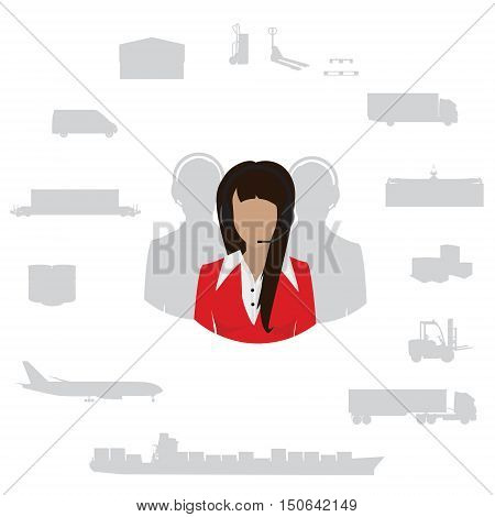 Vector illustration freight transportation and delivery logistics flat icons set.