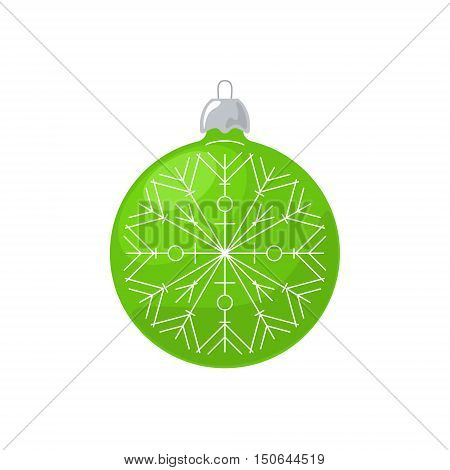 Christmas Green Ball with Snowflake Isolated on White ,Background Christmas Tree Decoration, Merry Christmas and Happy New Year, Vector Illustration