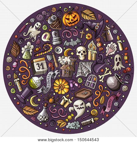 Colorful vector hand drawn set of Halloween cartoon doodle objects, symbols and items. Round composition