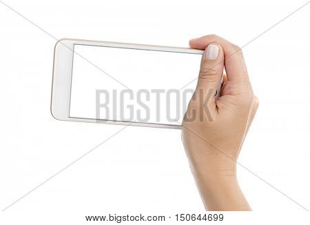 Isolated female hand holding a phone with blank screen.