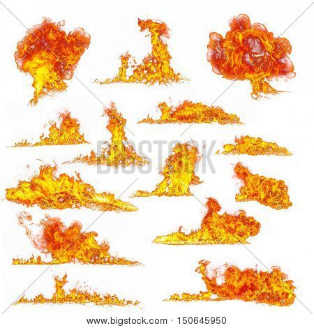 Set of various kind of flames, isolated on white background. high resolution