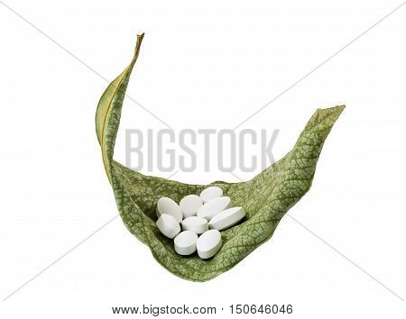 White pills on fresh green leaves drugs and nature concept