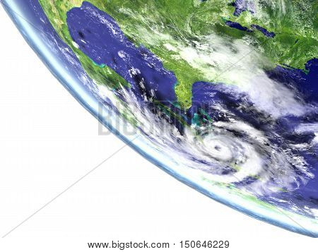 Hurricane Matthew viewed from satellite heading towards Florida in America. 3D illustration. Elements of this image furnished by NASA