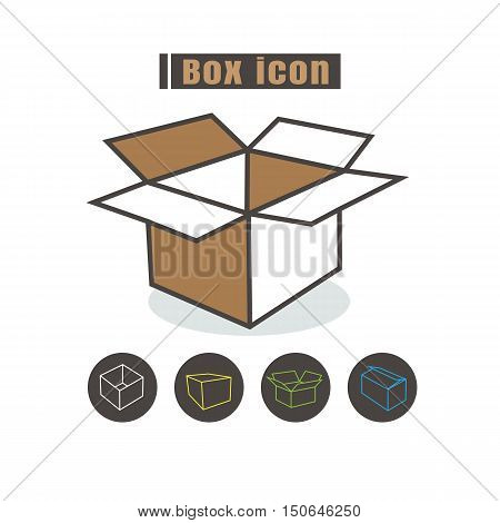 vector box icon color on white background