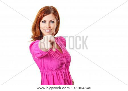 Young woman in pink dress