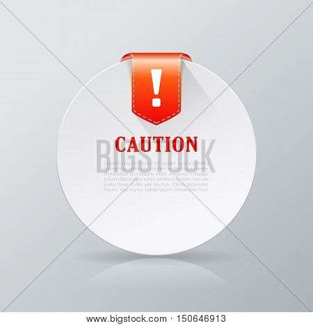Caution red color notice card vector illustration isolated on white background