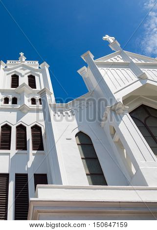 White towers on an old Episcopal church in Key West Florida