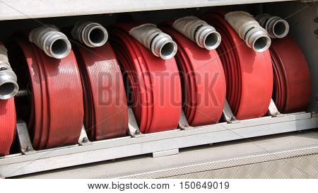 The Hoses of a Classic Fire Engine Tender.