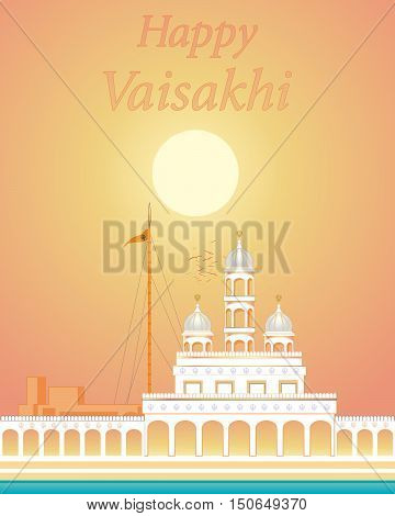 an illustration of a gleaming white gurdwara with holy pool under a golden sun on a summer evening