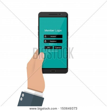 Sign in page in account managment on smartphone screen. secure log in, , web site, cloud drive. vector illustration in flat design