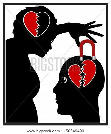 Living with a Narcissist. Concept illustration of emotional abuse in partnership