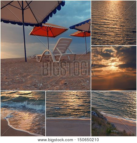 Empty chair stand on beach under opened umbrella sunset time collage of toned images.