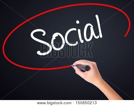 Woman Hand Writing Social With A Marker Over Transparent Board
