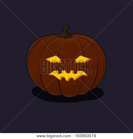Carved Vicious Scary Halloween Pumpkin, a Jack-o-Lantern on Dark Background, Vector Illustration