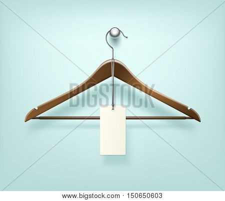 Vector Clothes Coat Brown Wooden Hanger with Sale Blank Label Close Up Isolated on Background