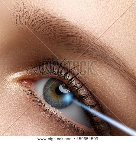 Laser Vision Correction. Woman's Eye. Human Eye. Woman Eye With