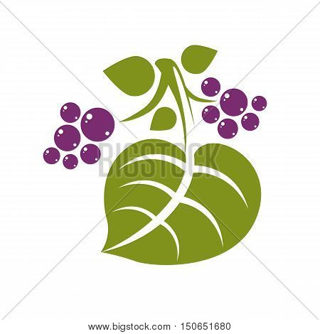 Spring Leaf Simple Vector Icon, Nature And Gardening Theme Illustration. Stylized Tree Leaf With Vio